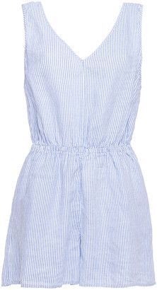 American Vintage Mukadance Gathered Striped Linen Playsuit
