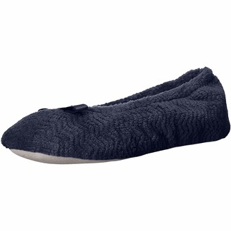 Isotoner Women's Chevron Microterry Ballerina House Slipper with Moisture Wicking and Suede Sole for Comfort Ballet Flat