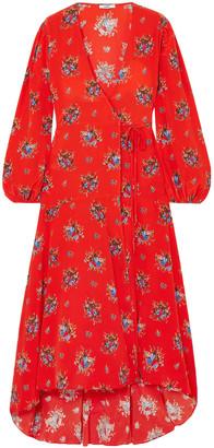 Ganni Floral-print Silk Crepe De Chine Midi Wrap Dress