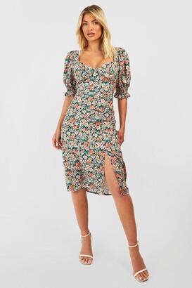 boohoo Floral Puff Sleeve Slit Front Midi Dress