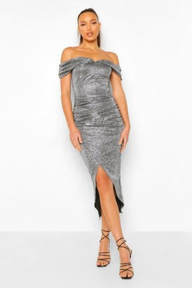 boohoo Tall Off Shoulder Shimmer Wrap Front Midaxi Dress