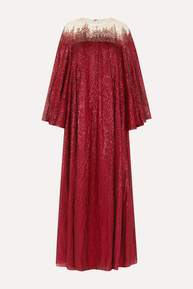 Oscar de la Renta Embellished Silk-blend Tulle And Lamé Gown - Red