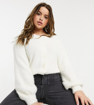 Wednesday's Girl Curve relaxed cardigan with balloon sleeves in fluffy knit