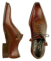 Forzieri Brown Italian Handcrafted Leather Cap Toe Dress Shoes