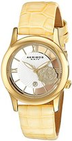 Akribos XXIV Women's AK837TN Quartz Movement Watch with Yellow Gold and See Thru Flower Dial Featuring a Beige Leather Strap