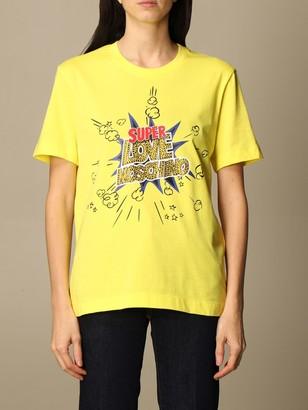 Love Moschino Cotton T-shirt With Rhinestone Logo Print