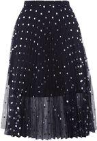 Topshop PETITE Foil Spotted Pleat Skirt