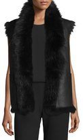 Vince Shearling Fur-Trim Leather Vest