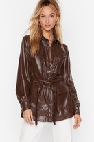 Nasty Gal Womens Faux Leather Look Back Belted Longline Jacket - brown - L