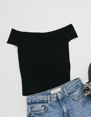 JDY Beth off the shoulder jersey top in black