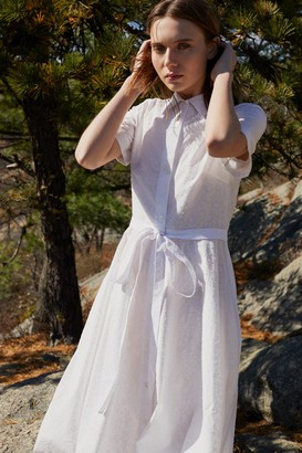 Mansur Gavriel Plumetis Cotton Shirt Dress - White