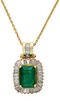 Effy Emerald Diamond And 14K Yellow Gold Pendant Necklace, 0.54 TCW
