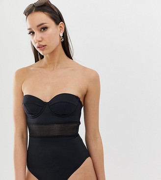 Asos Tall ASOS DESIGN Tall recycled mesh insert underwired cupped swimsuit in black