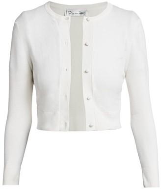 Oscar de la Renta Bracelet-Sleeve Silk-Blend Short Cardigan