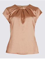 M&S Collection Pleat Front Satin Cap Sleeve Shell Top