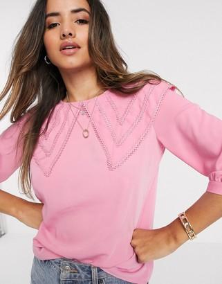 Vero Moda blouse with oversized prairie collar in pink