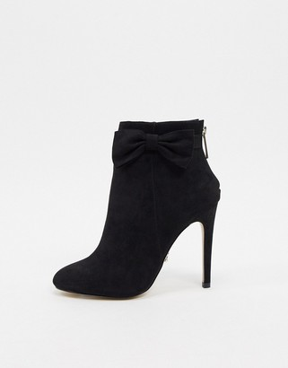 Lipsy round toe boot with bow detail in black