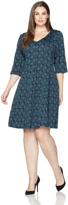 Taylor Dresses Women's Plus Size V Neck Novelty Jacquard Fit and Flare Dress