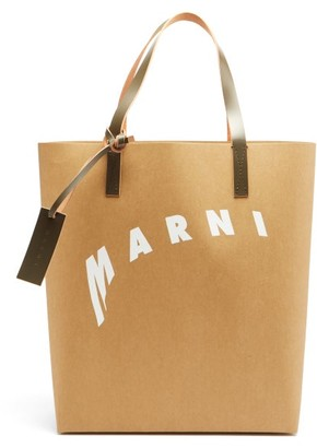 Marni Logo-print Faux-leather Tote Bag - Beige