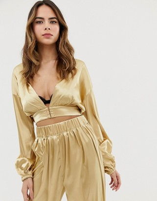 Lioness plunge front wrap top co-ord in gold