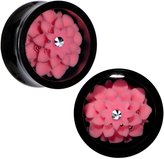 Body Candy Black Acrylic Pink Marigold Saddle Plug Set 18mm