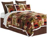 Carstens Patchwork Lodge Rustic Cabin 3-Piece Sherpa Fleece Bedding Se