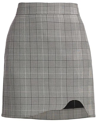 Ganni Plaid Suiting Mini Pencil Skirt