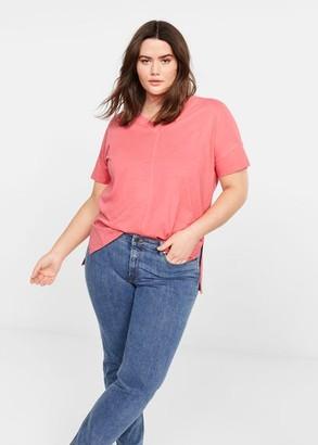 MANGO Violeta BY Organic cotton t-shirt white - XS - Plus sizes