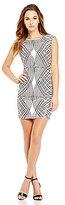 As U Wish Sequin Geometric-Print Sheath Dress