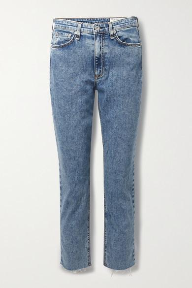 Thumbnail for your product : Rag & Bone Nina Distressed Acid-wash High-rise Straight-leg Jeans - Mid denim