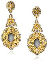 Miguel Ases Long en Drop with Mother-Of-Pearl Center Earrings