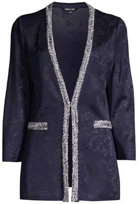 Misook Shadow Floral Fringe Jacket