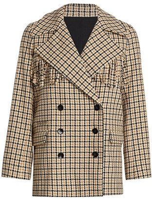 The Kooples Fringe-Trim Double-Breasted Plaid Blazer