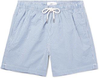 Mr P. Striped Cotton-Blend Seersucker Swim Shorts