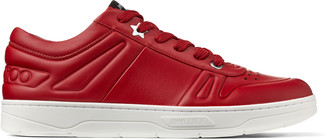 Jimmy Choo HAWAII/M Red Calf Leather Lace-Up Trainers