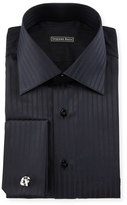 Stefano Ricci Tonal-Striped French-Cuff Dress Shirt, Black