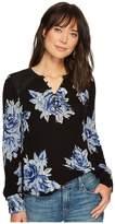 Lucky Brand Blossom Print Henley Women's Long Sleeve Pullover