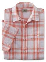 L.L. Bean Linen/Cotton Shirt, Slightly Fitted Short-Sleeve Plaid