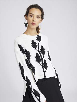 Oscar de la Renta Floral Print Merino Wool Pullover