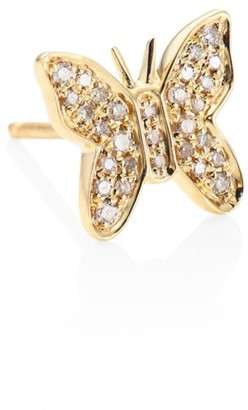 Sydney Evan Butterfly Diamond & 14K Yellow Gold Single Stud Earring