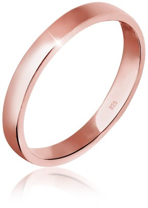 Elli Women's 925 Sterling Silver Rose Gold Plated Xilion Cut Basic Ring Size Q
