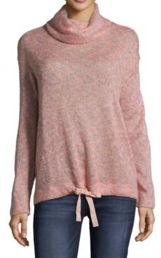 John Paul Richard Petite Cowlneck Tie-Hem Sweater