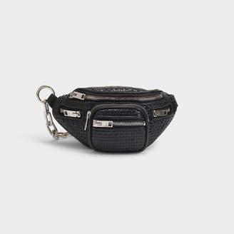 Alexander Wang Attica Soft Mini Fanny Crossbody Bag In Black Woven Leather