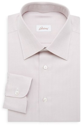 Brioni Classic-Fit Herringbone Cotton Dress Shirt