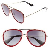 Gucci Women's 57Mm Aviator Sunglasses - Black/ Gold