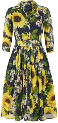 Samantha Sung Audrey Belted Sunflower Shirtdress