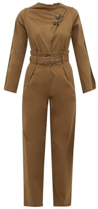 Sea Scout Belted Cotton-blend Jumpsuit - Khaki