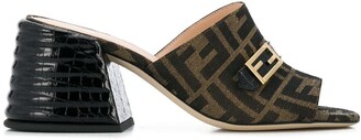 Fendi Chunky Mid Heel Monogram Sandals