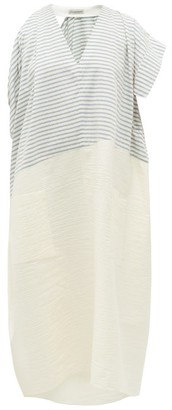 Vika Gazinskaya Asymmetric Striped Cotton-blend Midi Dress - Blue White