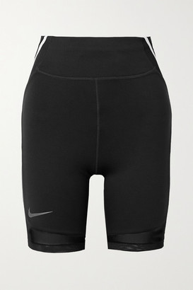Nike City Ready Striped Mesh-trimmed Dri-fit Shorts - Black
